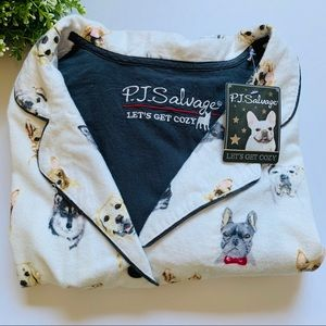 PJ Salvage Top Fall into Flannel Dog Lovers Print